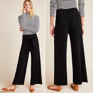 ANTHROPOLOGIE Pants Linette Cropped Knit Black Med